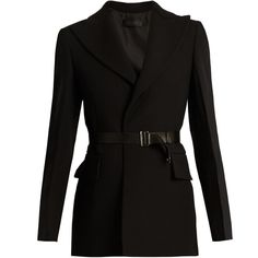 Calvin Klein Collection Jabar crepe tuxedo jacket ($1,936) ❤ liked on Polyvore featuring outerwear, jackets, blazers, black, leather belt, crepe blazer, calvin klein collection, dinner jacket and tailored jacket