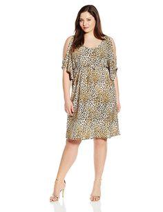 b9a1d0d52aa Star Vixen Women s Plus-Size Slit Flutter Sleeve Empire Drawstring Waist  Dress