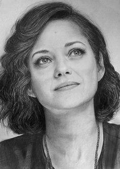 Marion Cotillard by LazzzyV on DeviantArt Pencil Portrait Drawing, Portrait Sketches, Portrait Art, Pencil Art, Marion Cotillard, Woman Sketch, Face Sketch, Celebrity Portraits, Photoshop Cs5