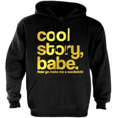 Cool Story Babe Gold Black Large Hoodie [Apparel]