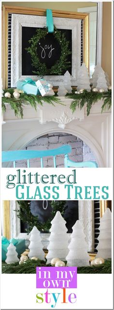 Christmas decorating ideas from the thrift store. How to make glittered glass trees to from thrift store finds. | In My Own Style