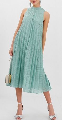 Find the best selection of ASOS DESIGN premium high neck pleated trapeze broderie midi dress. Shop today with free delivery and returns (Ts&Cs apply) with ASOS! Pleated Dresses, Chiffon Dress, Cute Dresses, Vintage Dresses, Casual Dresses, Fashion Dresses, Fashion Vocabulary, Sorority Recruitment, Asos Dress
