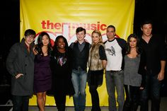 "Dianna Agron and Mark Salling Photos Photos - (L-R) Cast members of Glee actors Kevin McHale, Jenna Ushkowitz, Amber Riley, Chris Colfer, Dianna Agron, Mark Salling, Lea Michele and Cory Monteith attend the cast of ""Glee"" Signing copies of ""Glee: The Music Vol. 1"" at Borders Books & Music, Columbus Circle on November 3, 2009 in New York City. - The Cast Of ""Glee"" Signs Copies Of ""Glee: The Music Vol. 1"" In Manhattan"