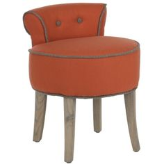 @Overstock - Safavieh Georgia Orange Vanity Stool - The adorable Georgia vanity chair is petite enough to tuck in a bathroom or bedroom, and brimming with feminine style. Graceful birch wood legs with weathered oak finish, deep seat and diminutive button tufted back are designed for indulgent comfort.     http://www.overstock.com/Home-Garden/Safavieh-Georgia-Orange-Vanity-Stool/7634109/product.html?CID=214117  $152.99