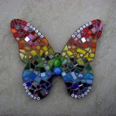 Rainbow Mosaic Butterfly Garden Ornament