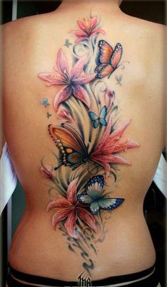 flowers with butterfly tattoo on black - 50 Butterfly tattoos with flowers for women <3