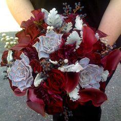 red rose succulent bouquet 550x550 Winter Wedding Flower Idea