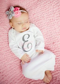 Baby Girl Coming Home Gown. Personalized w by BabySpeakBoutique