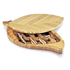 Picnic Time Leaf Cheese Board and Cheese Tools Set - Set of 2