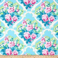 Jennifer Paganelli Caravella Arcade Jessica Blue from @fabricdotcom  Designed by Jennifer Paganelli for Free Spirit, this cotton print fabric is perfect for quilting, apparel and home decor accents. Colors include shades of pink, orchid, green, mint, teal blue, grey, and white on a turquoise background.