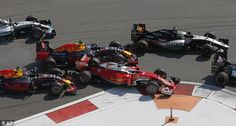 Vettell is sandwiched between the two Red Bull cars to allow Lewis Hamilton to bypass and make up ground