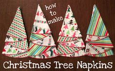 Picking Daisies Modern Quilt Fabric and Table Linens: Christmas Tree Napkin Tutorial