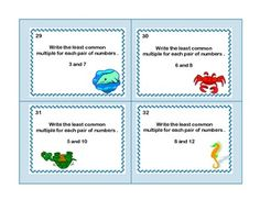 MATH TASK CARDS GRADES 5-6 REVIEW PRIME NUMBERS, LCM'S,AND GCF'S - TeachersPayTeachers.com  Check out www.NYHomeschool.com as well. Year 5 Maths, Math Class, Lcm And Gcf, Prime Numbers, Math Task Cards, Flipped Classroom, Prime Time, Fifth Grade, Picture Cards