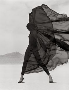 Versace Veiled Dress, El Mirage, 1990  Photographer: Herb Ritts   Model: Naomi Campbell  Versace, Fall/Winter 1990