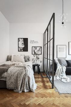 In a studio apartment where there aren't many walls to mark the boundaries of rooms it becomes a must to invest in a room divider. We have discovered some cool room divider ideas. In a studio apartment while dividing your… Continue Reading → Studio Apartment Divider, Studio Apartment Layout, Studio Apartment Decorating, Cozy Apartment, Apartment Living, Modern Studio Apartment Ideas, Small Apartment Interior Design, Bohemian Studio Apartment, Studio Apartment Furniture
