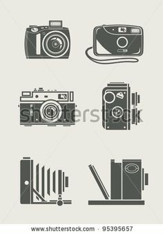 photocamera retro and new set icons vector illustration by Aleksangel, via Shutterstock