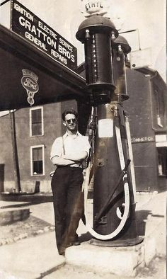 Shell Ethyl gas station pumps twin visible 1937 Shakespeare Ontario