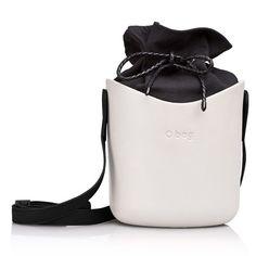 Zestaw | Obag Body Basket Biały + worek wewnętrzny, kolor czarny + pasek naramienny - eco skóra, kolor czarny