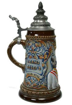 Beer Stein Franz Josef I by King, Vintage German 1987
