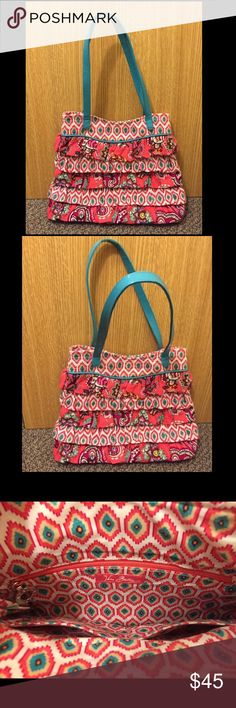 Vera Bradley Purse - Retired Design!! Pink, white, and aqua Vera Bradley purse with ruffles on the outside and magnets for closing. Zipper pocket and two open pockets inside. The pattern is retired, so you can't buy it in stores anymore! Barely used, excellent condition. About 11.25in wide, 3in long, and 9-9.5 in tall. The straps are about 19 in long, so only 9.5 in when worn on the shoulder. Bundle more items for 10% off, and feel free to make an offer! If you have any questions, don't…