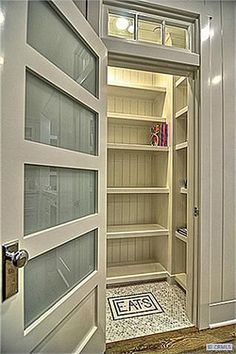 Pantry door and the tile on the floor. Cute