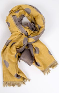yellow and grey oversized dot scarf . downeast basics