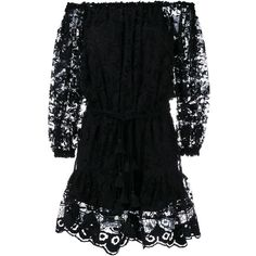 Chloé off-shoulder lace dress (59.495 ARS) ❤ liked on Polyvore featuring dresses, black, short lace dress, long sleeve cocktail dress, short dresses, mini dress and lace cocktail dress