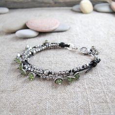 Leather and Silver Bracelet with Peridot by BohBiJewelry on Etsy
