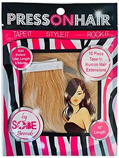 Press On Hair Straight Tape Extensions, Golden Blonde, 18 Inch -- This is an Amazon Affiliate link. Click image to review more details.