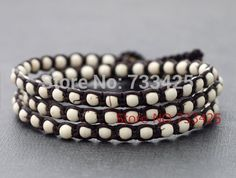 Wholesale White Turquoise Triple Wrap Bracelet  Anklet Handmade woven wax cord and thai style brass bell closure bracelet