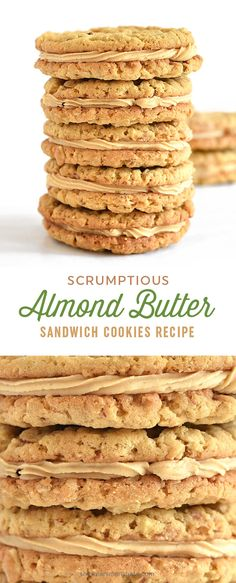These giant Almond Butter Cookies sandwiched with an Almond Butter Cream filling are a dream in cookie form! #cookies #recipe   shewearsmanyhats.com