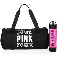 Victoria's Secret PINK Friday Duffle Campus Water Bottle Duo Black ($90) ❤ liked on Polyvore featuring bags