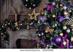 Christmas decorations on the branches fir,Decorated Christmas tree on blurred, sparkling and fairy background