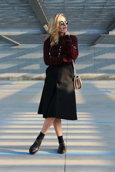 Get this look: http://lb.nu/look/7957800  More looks by Eniwhere Fashion: http://lb.nu/eniwherefashion  Items in this look:  Zara Burgundy Sweater, H&M Black Midi Skirt, Belotti Shoes, Zara Minibag, Choies Sunnies   #casual #minimal #street #zara #hm #trend #fall #burgundy