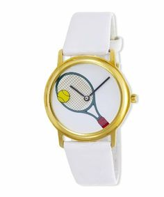 Women's Gold-Tone Tennis Racquet with Rotating Ball Patent White Strap Watch # 6515GW Pedre. $19.95. Precision quartz movement. Makes a great gift for tennis players and fans. Ball rotates around the face on a transparent rotating disk. Gift box. White patent-look synthetic leather strap