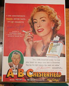 1949 JOAN CRAWFORD CHESTERFIELD CIGARETTE PRINT AD - Ladies Home Journal