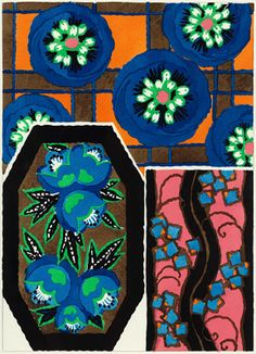 """Pochoir (hand coloured) lithograph (plate 1) by EA Seguy, 1929. From """"Suggestions pour Etoffes et Tapis"""" (Suggestions for Stuffs and Carpets) portfolio. Ch. Massin & Cie, Paris"""