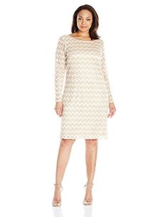 2fc68a7cb4ab6 Jessica Howard Women's Plus-Size Womens Long Sleeve Lace Shift, Champagne,  16W -