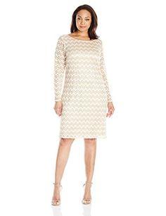 eb8f286b Jessica Howard Women's Plus-Size Womens Long Sleeve Lace Shift, Champagne,  16W -