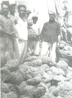 1940 - Sponge-divers and their catch in Kalymnos