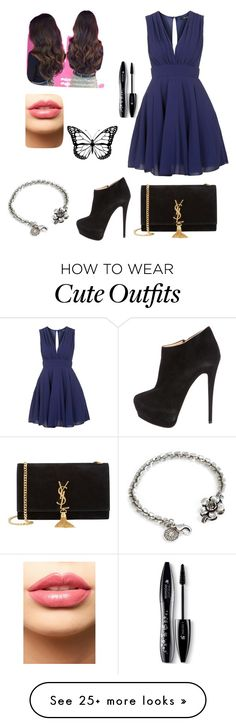 """cute prom outfit"" by shsalsabilah on Polyvore featuring TFNC, Giuseppe Zanotti, Yves Saint Laurent, Sweet Romance, LASplash, Lancôme, women's clothing, women, female and woman"