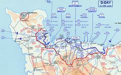 Map of the movement of Allied and German Forces from D-day to D-Day plus 6 (12 june 1944).