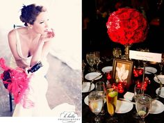 Vintage chic bride wears single black flower in her hair, holds all red bridal bouquet with feather