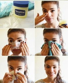 How to get rid of blackheads with Vaseline. Usually, Vaseline is used for making skin smooth and removing the dead skin cell by moisturizing the skin. Beauty Make-up, Beauty Secrets, Beauty Care, Beauty Skin, Hair Beauty, Natural Beauty, Beauty Ideas, Natural Skin, Diy Beauté