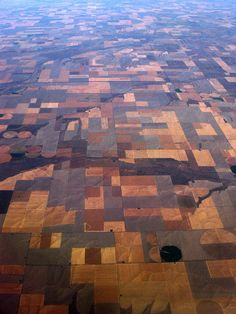 Tetris. :D  Aerial view of mid-western fields (Iowa I think)