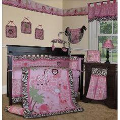 Amazon.com: Custom Baby Girl Bedding - Pink Safari 14 PCS Crib Nursery Set Include Music Mobile: Baby
