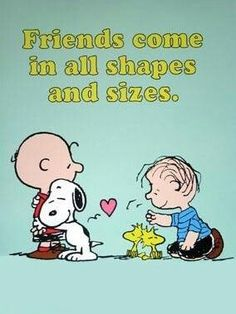 Friends come in all shapes and sizes...  =]  #Snoopy #Charlie Brown #Woodstock #Linus #Peanuts
