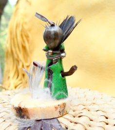 Miniature Totem Feather Doll woodland by Pineneedlesweetgrass, $30.00