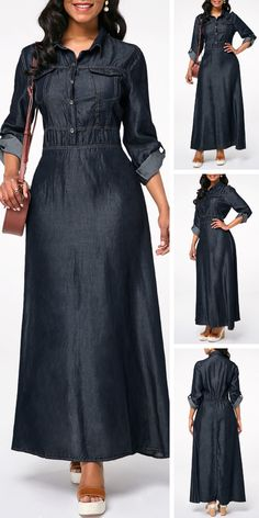 Dresses For Women Abaya Fashion, Muslim Fashion, Denim Fashion, Denim Maxi Dress, Maxi Dress With Sleeves, Jeans Dress, Modest Dresses, Casual Dresses, Modest Outfits