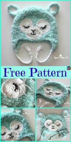 Cute Crochet Llama Hat - Free Pattern - Diy 4 Ever - Page 3 of 31 - Free Crochet Patterns Crochet Animal Hats, Crochet Kids Hats, Crochet Mittens, Crochet Baby Clothes, Crochet Beanie, Crochet Gifts, Cute Crochet, Baby Blanket Crochet, Crocheted Hats